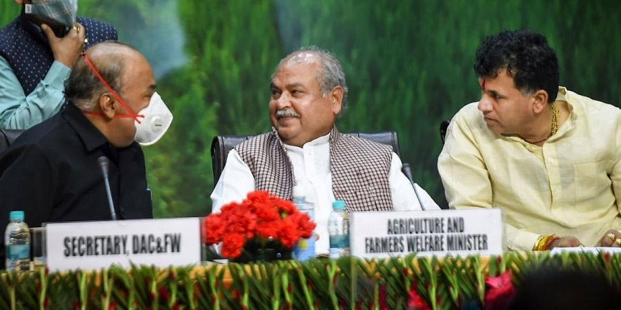 Union Minister of Agricultural and Farmers Welfare Narendra Singh Tomar during a function of the 2nd anniversary of 'Pradhan Mantri  Kisan Samman Nidhi Scheme', in New Delhi. (Photo | PTI)