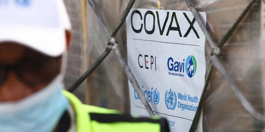 Covax tag on a shipment of Covid-19 vaccines from the Covax global Covid-19 vaccination programme. (Photo| AFP)