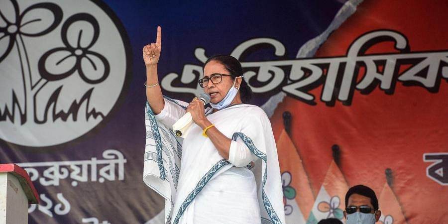 West Bengal Chief Minister Mamata Banerjee addresses a public rally at Kalna. (Photo| PTI)