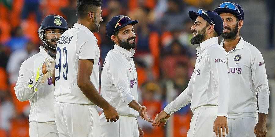 Indian bowler R Ashwin celebrates the dismissal of England's Jack Leach with his team. (Photo | PTI)