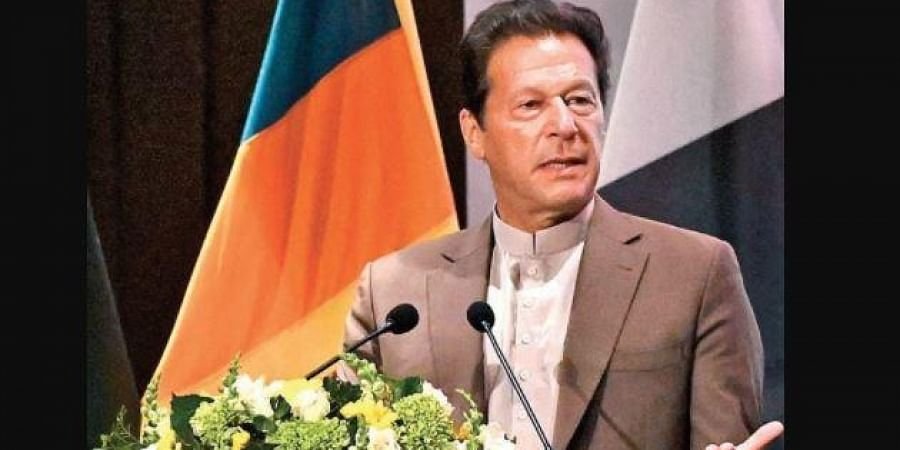 Pakistan Prime Minister Imran Khan addressing a conference in Colombo.