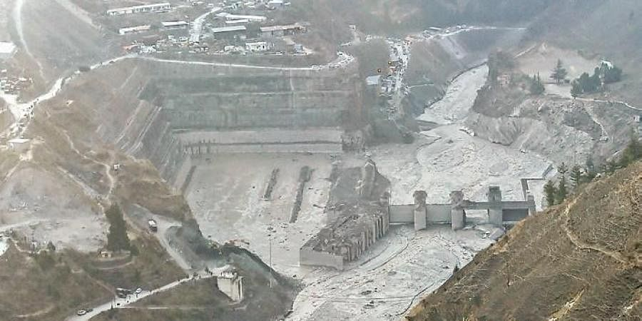 Aerial view shows washed away Tapovan hydel power project plant after Sunday's glacier burst, in Chamoli district of Uttarakhand on Friday | PTI