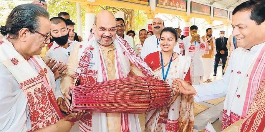 Union Home Minister Amit Shah at Batadrava Than, the birthplace of Srimanta Sankardev, in Nagaon.