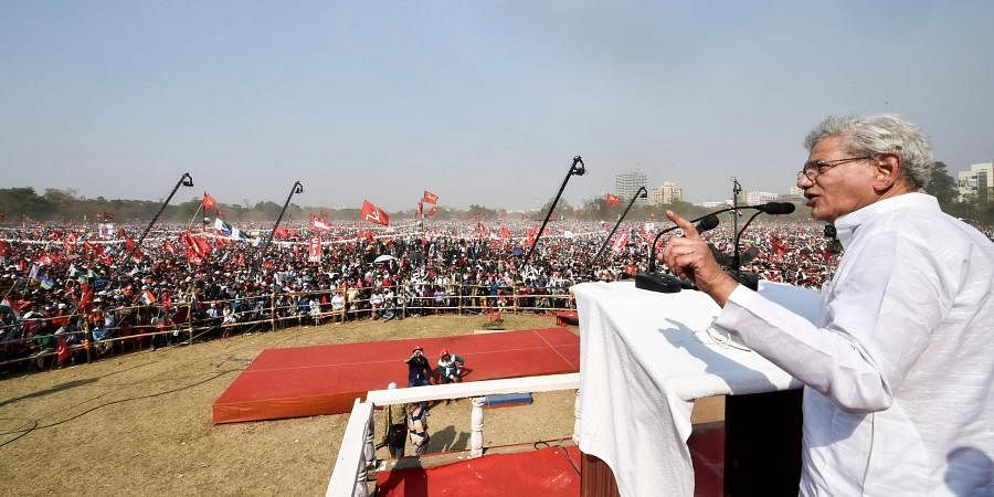 Secretary of the Communist Party of India (Marxist )Sitaram Yechury addresses during Left-Congress and Indian Secular Front (ISF) joint rally. (Photo| PTI)