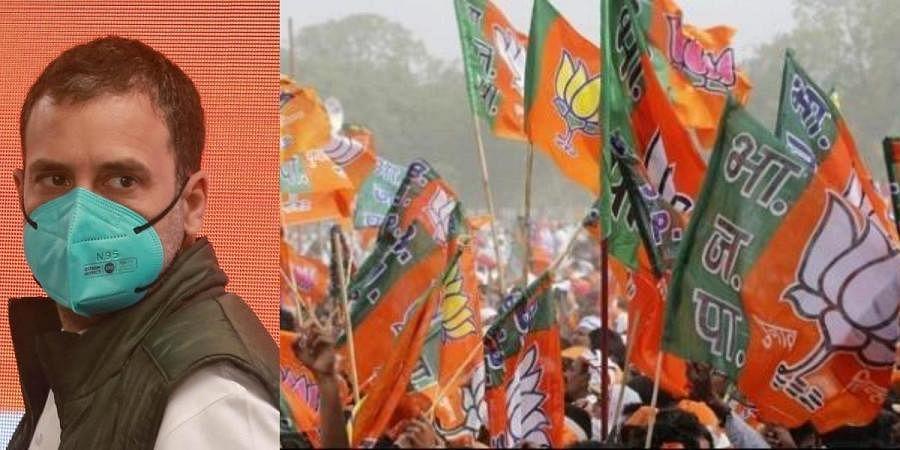 Congress leader Rahul Gandhi (L) and BJP flags