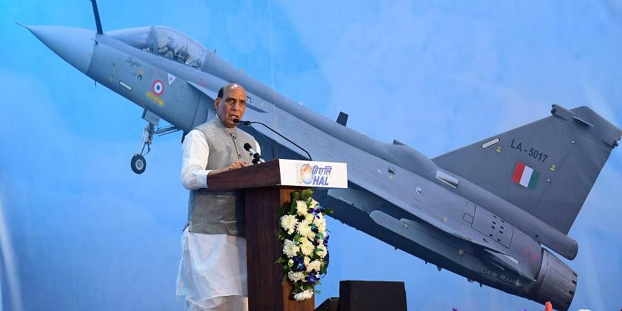 Defence Minister Rajnath Singh addresses during the inauguration of the HAL's new LCA-Tejas Production Line in Bengaluru.