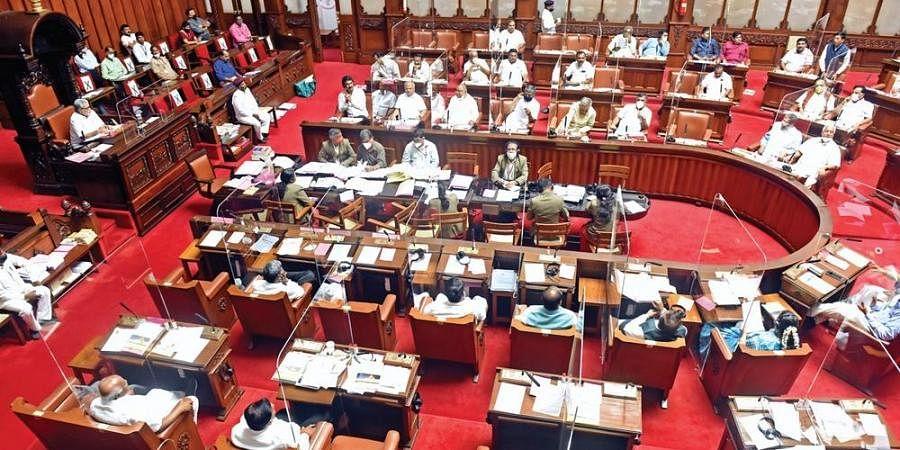 The Karnataka Legislative Council in session at Vidhana Soudha. (Photo| EPS/ Nagaraja Gadekal)