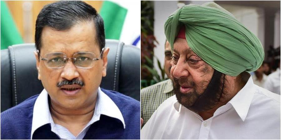Delhi CM Arvind Kejriwal (L) and his Punjab counterpart Amarinder Singh