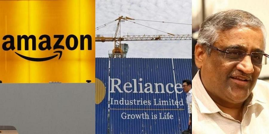 (From left) Logos of Amazon and Reliance and Future Group CEO Kishore Biyani