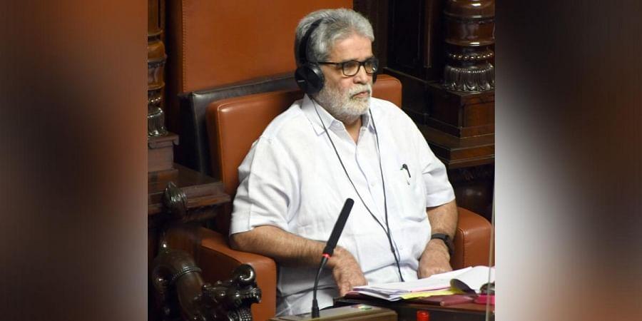 K Pratap Chandra Shetty attends the Legislative Council session in Bengaluru. (Photo | Nagaraja Gadekal, EPS)