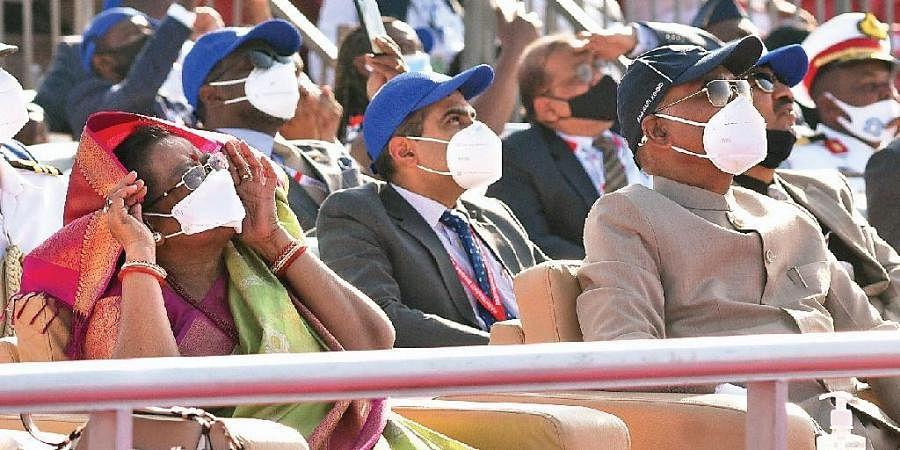 President Ram Nath Kovind and First Lady Savita Kovind at the final day of Aero India 2021 held at Air Force Station Yelahanka in Bengaluru on Friday.