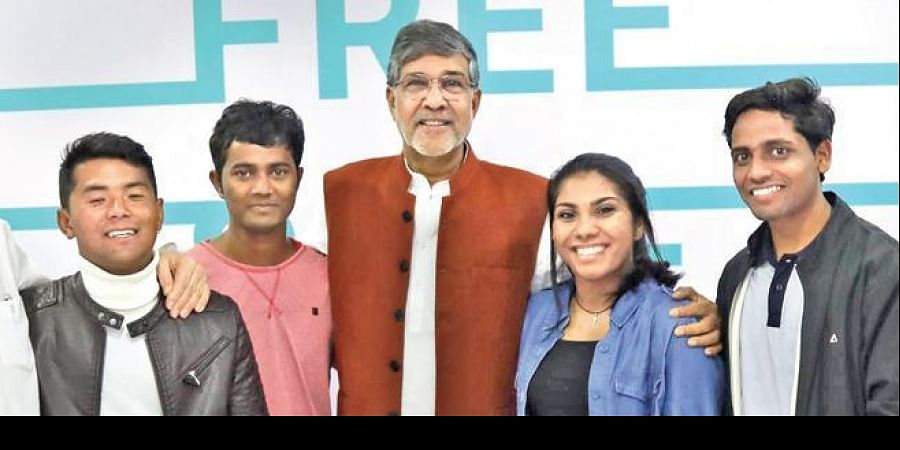 Rajesh (extreme right) with Kailash Satyarthi and his Mukti Ashram friends