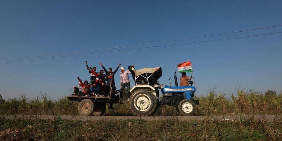Farmers, Tractor, Village
