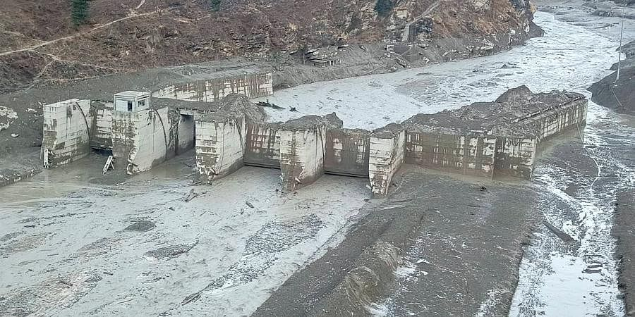 Damaged Dhauliganga hydropower project after a glacier broke off in Joshimath causing a massive flood in the Dhauli Ganga river in Chamoli of Uttarakhand.