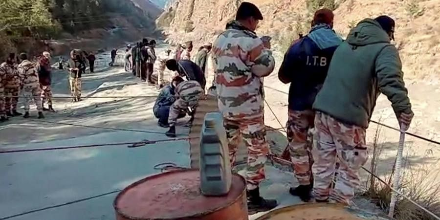 ITBP personnel carry out search and rescue operation at Tapovan Tunnel, after a glacier broke off in Joshimath in Uttarakhand. (Photo | PTI)