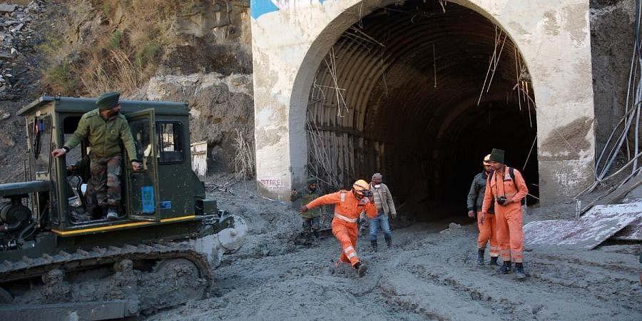 Rescue operations underway near Tapovan Tunnel in Chamoli. (Photo | Shekhar Yadav, EPS)