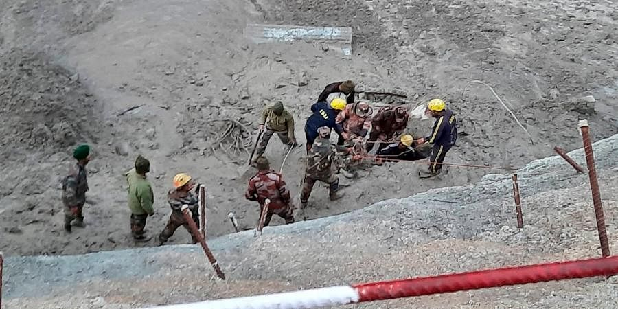 Officials carry out search and rescue operation at Tapovan Tunnel after a glacier broke off in Joshimath in Uttarakhand's Chamoli causing a massive flood in the Dhauli Ganga river.