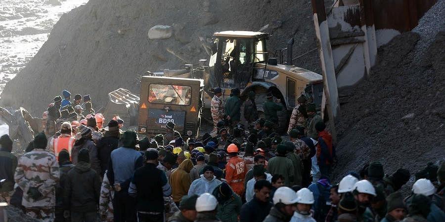 Rescue operations underway near Tapovan Tunnel in Chamoli.