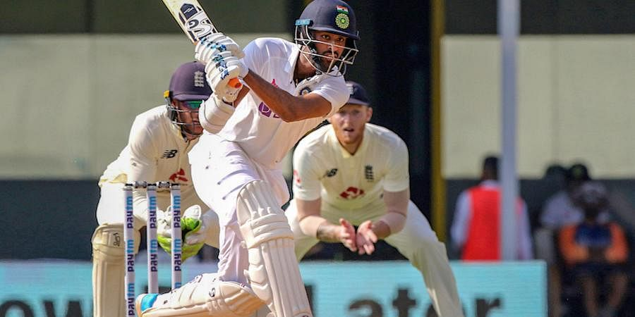 Washington Sundar plays a shot during the 4th day of first cricket test match between India and England. (Photo | PTI)