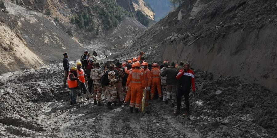 Rescue operations underway near the damaged Dhauliganga hydropower project after a glacier broke off in Joshimath causing a massive flood in Chamoli of Uttarakhand.