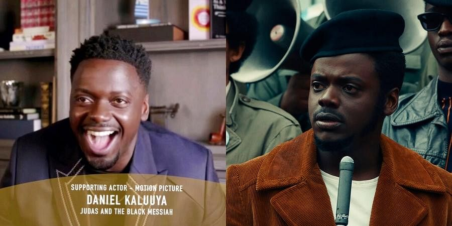 Daniel Kaluuya accepts the award for best supporting actor in a motion picture for 'Judas and the Black Messiah'. In right, Daniel Kaluuya in a scene from 'Judas and the Black Messiah.' (Photos | AP)
