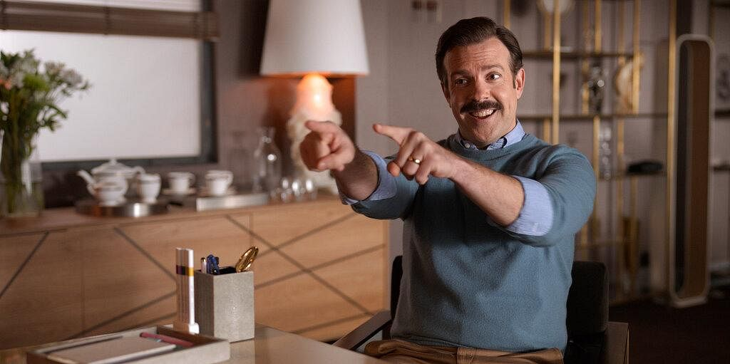 Jason Sudeikis accepted the award for best actor in a television series, musical or comedy for role in 'Ted Lasso'. (Photo | AP)