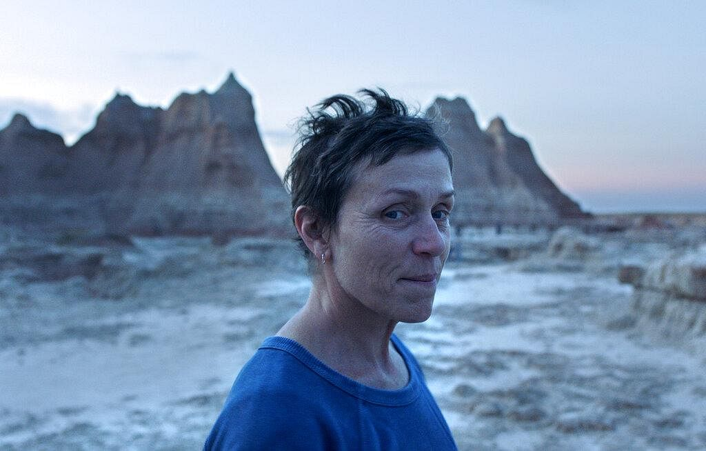 Frances McDormand in a scene from the film 'Nomadland.' The show won the award for best motion picture - drama. (Photo | AP)