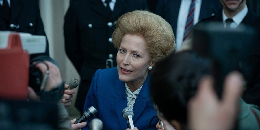 Gillian Anderson accepted the award for best supporting actress in a television role. In picture, Gillian Anderson in a scene from 'The Crown.' (Photo | AP)