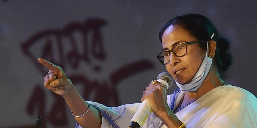 Mamata Banerjee addresses an event to mark International Mother Language Day, in Kolkata,