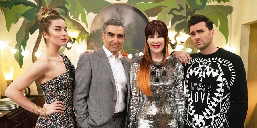 Canadian sitcom 'Schitt's Creek' created history as it made a clean sweep in the comedy category at the 72nd Emmy Awards. Bagging seven out of 15 wins, here's why audiences resonate with this comedic show. (From L-R: Annie Murphy, Eugene Levy, Catherine O'Hara and Daniel Levy in a still from the show) (Photo   AP)