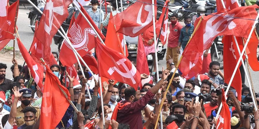 LDF supporters waving CPM flags