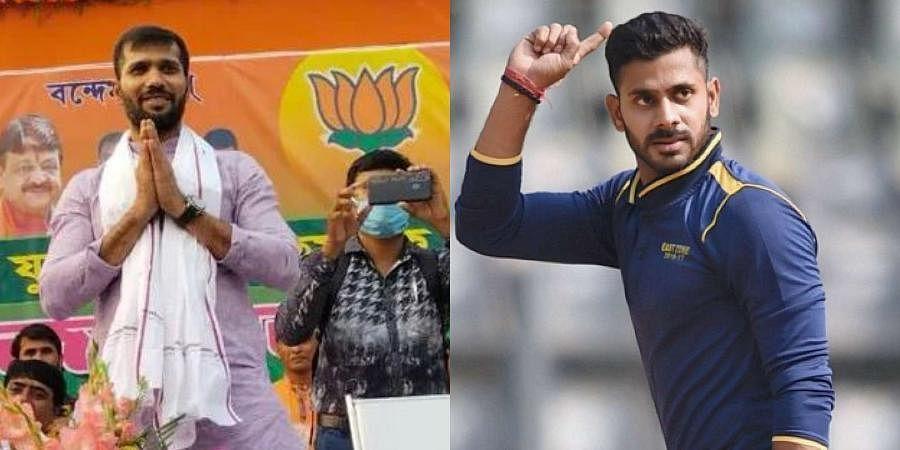 (L) Ashoke Dinda and (R) Manoj Tiwary (Photos | Ashoke Dinda, Twitter; PTI)