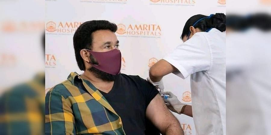 Malayalam actor Mohanlal receives a shot of COVID-19 vaccine