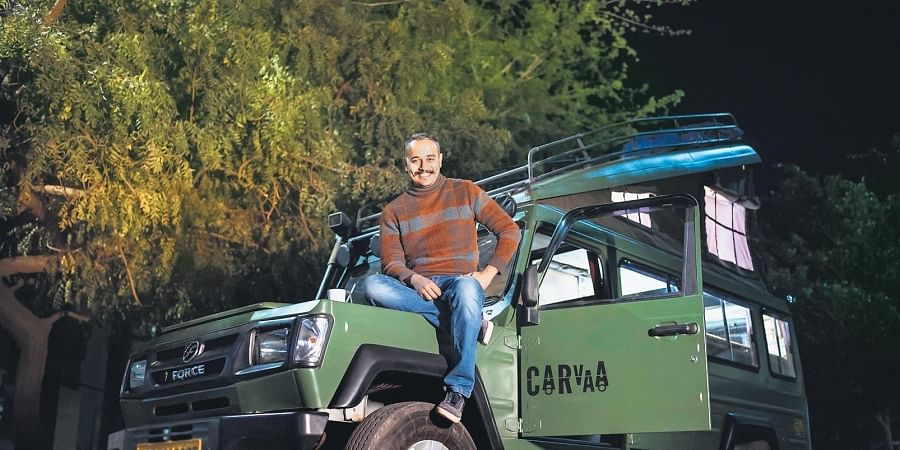 (In picture) Jigyasu Joshi, one of the founders of this unique caravan rental service