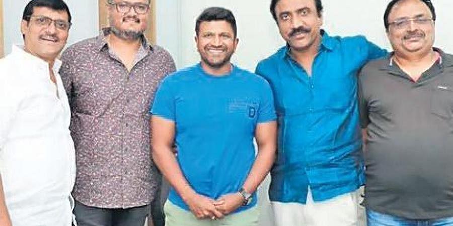 Puneeth Rajkumar with director Dinakar Thoogudeepa and producers Jayanna and Bhogendra.