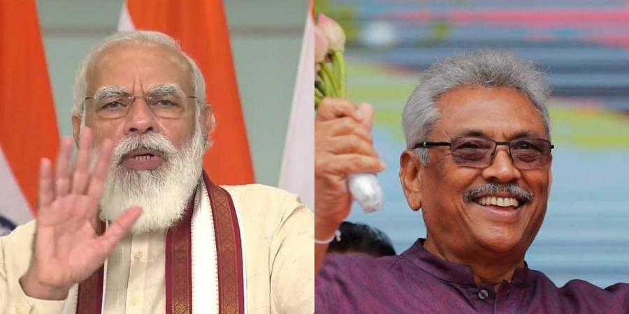 PM Narendra Modi (L) and Sri Lankan president Gotabaya Rajapaksa