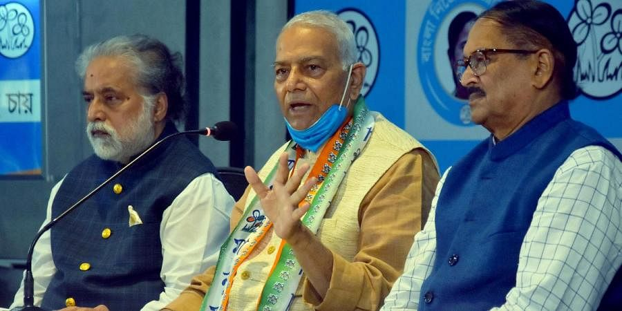 Former BJP leader and Union Minister Yashwant Sinha addresses as he joins TMC in Kolkata