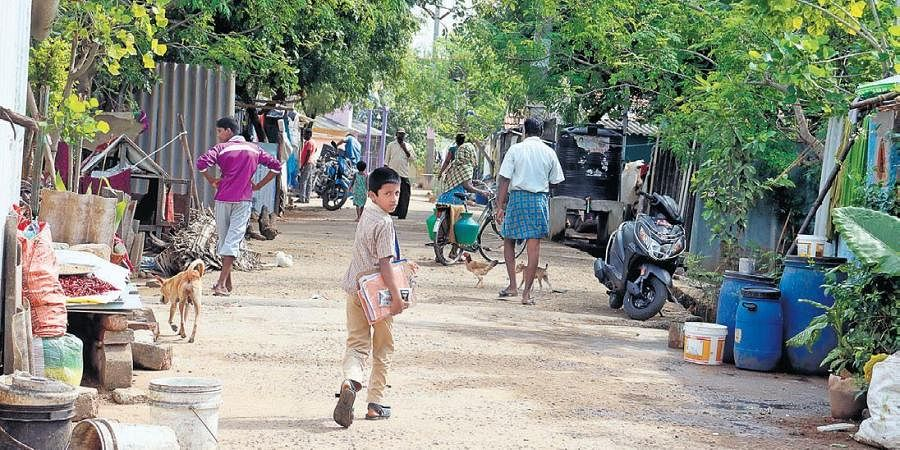 A child at a camp for Sri Lankan Tamil refugees near Vellore