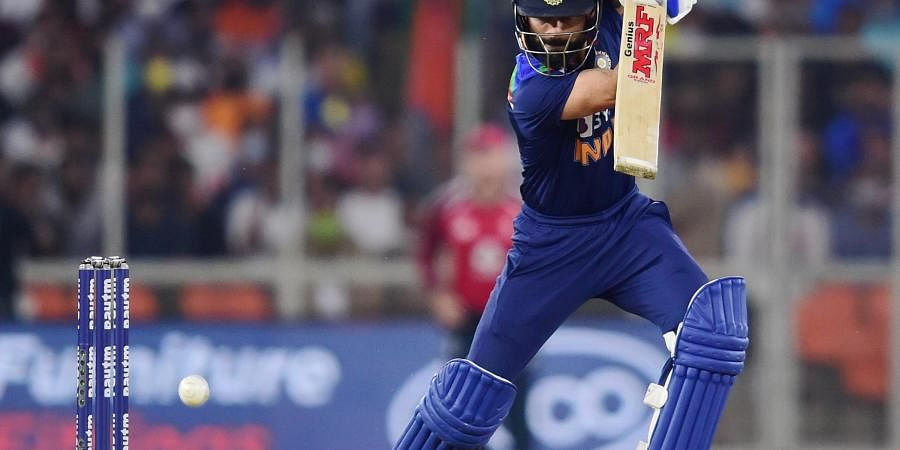 Virat Kohli plays a shot during second T20 cricket match between India and England at Narendra Modi Stadium in Ahmedabad. (Photo | PTI)