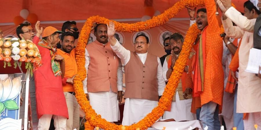 BJP president J P Nadda at a rally in Kotulpur in Bankura district