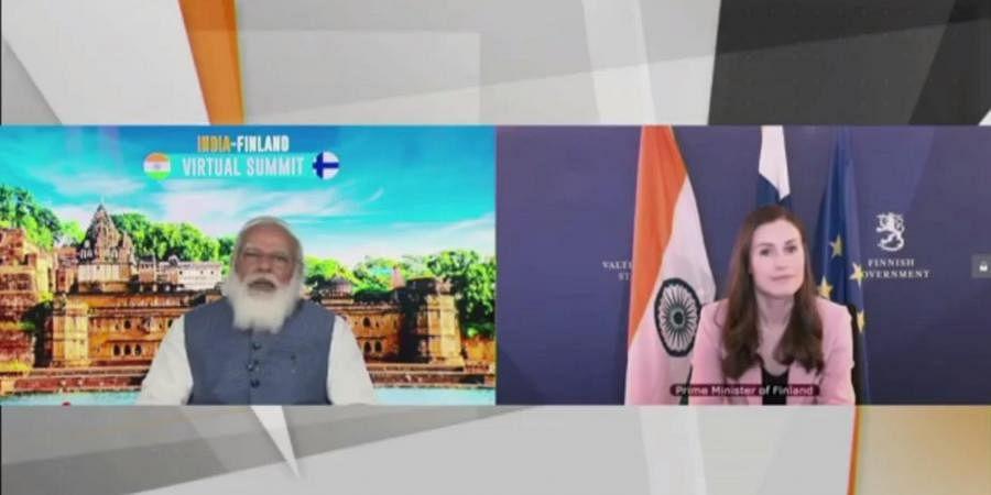 PM Narendra Modi with Finnish counterpartSanna Marin during the India-Finland Virtual Summit