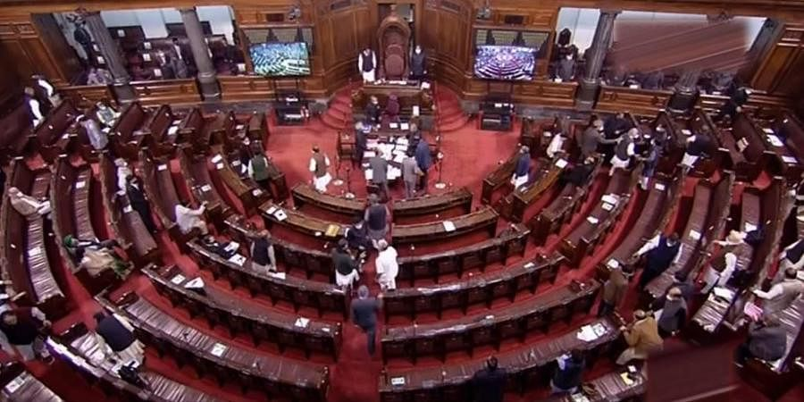 MPs at Rajya Sabha during the ongoing Budget Session of Parliament in New Delhi(YouTube Screengrab)
