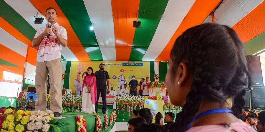 Congress leader Rahul Gandhi addresses students during an interactive session at Lahowal college, in Dibrugarh