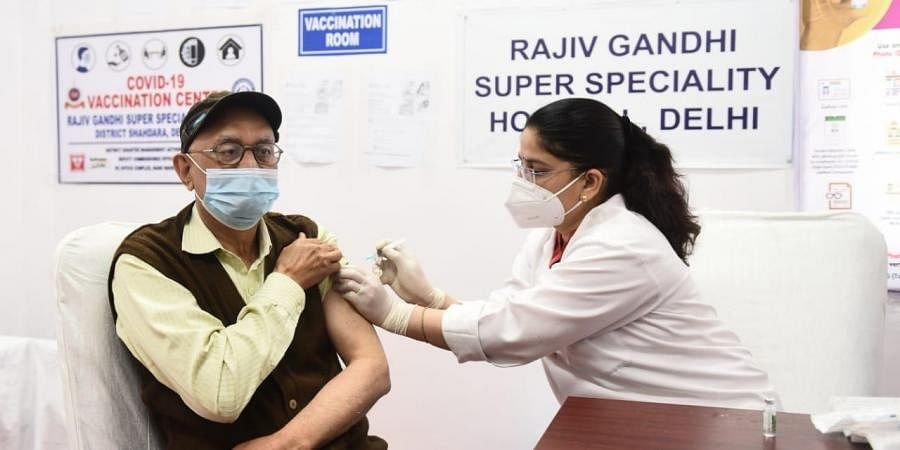 Senior Citizens getting first dose of Covid 19 Vaccine at the Rajiv Gandhi Super Speciality hospital in New Delhi on Monday.