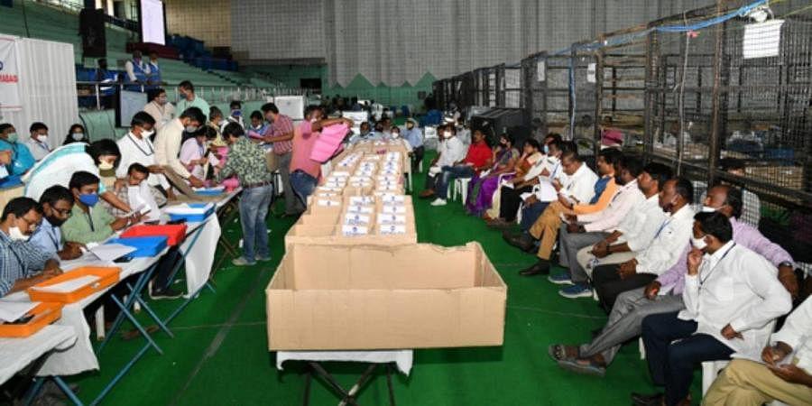 Counting of graduate MLC for Hyderabad-Rangareddy-Mehaboobnagar is in progress on the 3rd day at Saroornagar indoor stadium in Hyderabad