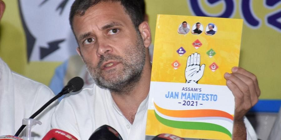 Congress leader Rahul Gandhi releases party's manifesto for the upcoming Assam Assembly Elections. (Photo| PTI)