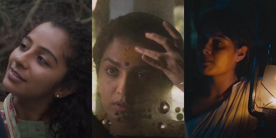 Darshana Rajendran, Parvathy Thiruvothu and Samyukta in 'Aannum Pennum' trailer.