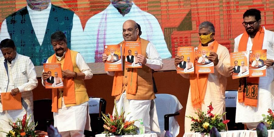 Union Home Minister Amit Shah releases BJP Manifesto of West Bengal election. (Photo| ANI)