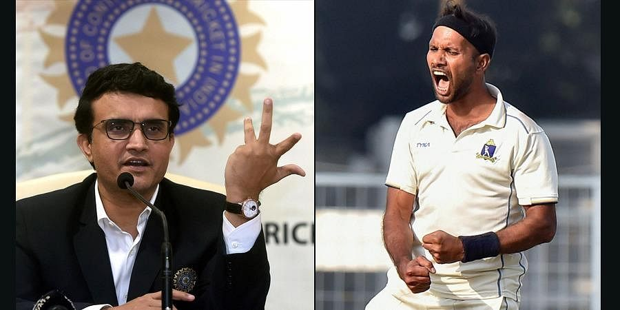 BCCI chief Sourav Gangly and cricketer-turned-politician Ashok Dinda. (Photo| PTI)