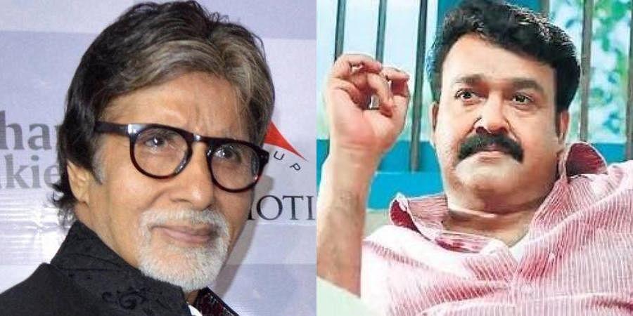 Amitabh Bachchan (L) and actor Mohanlal (R)